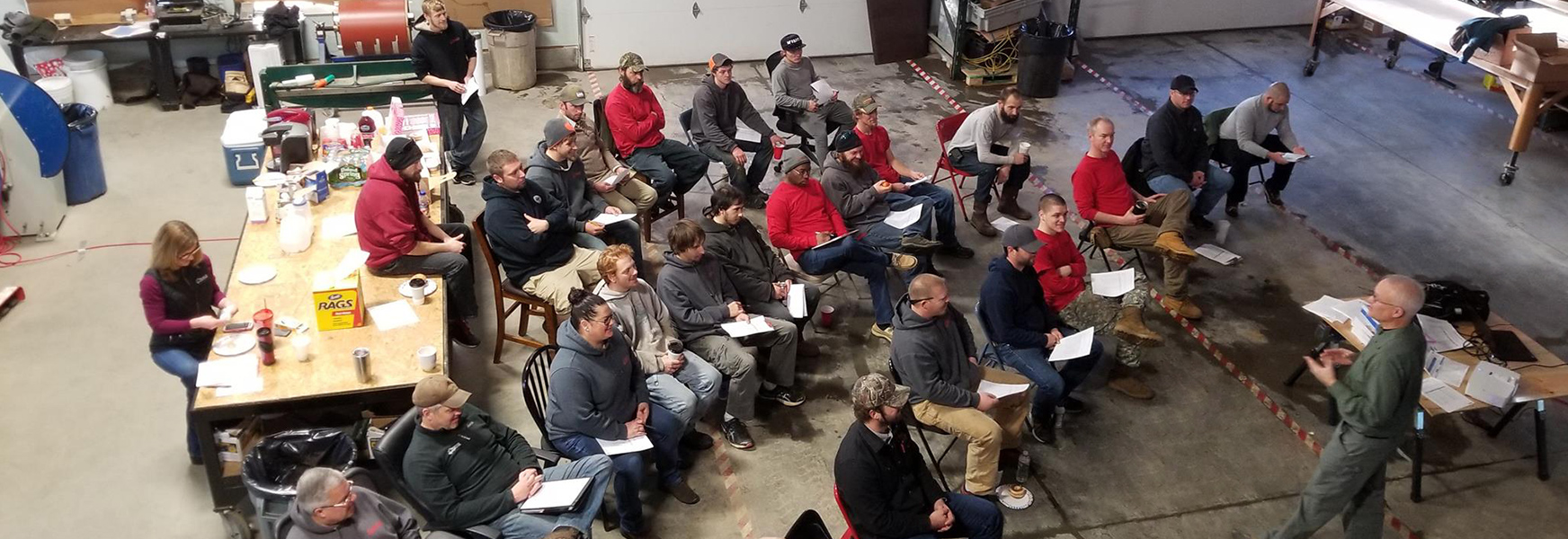 Randy Klatt holds safety training at Horch Roofing