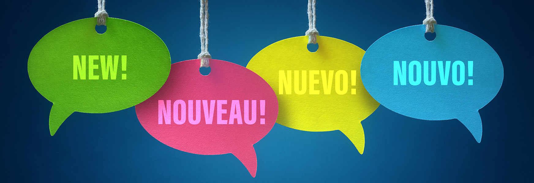 New, Nuevo     speech bubbles