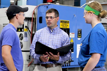Jayson Hebert on safety visit at Maine Machine Products