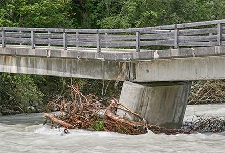 bridge in flood