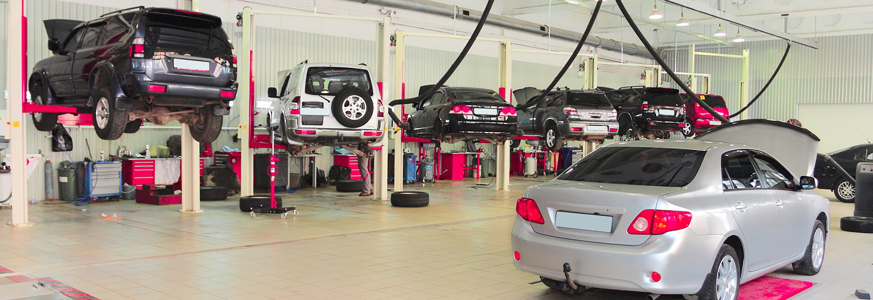 Garage with a line of cars on lifts