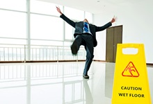 man slipping on floor