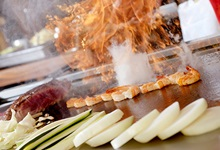 Hibachi food on grill