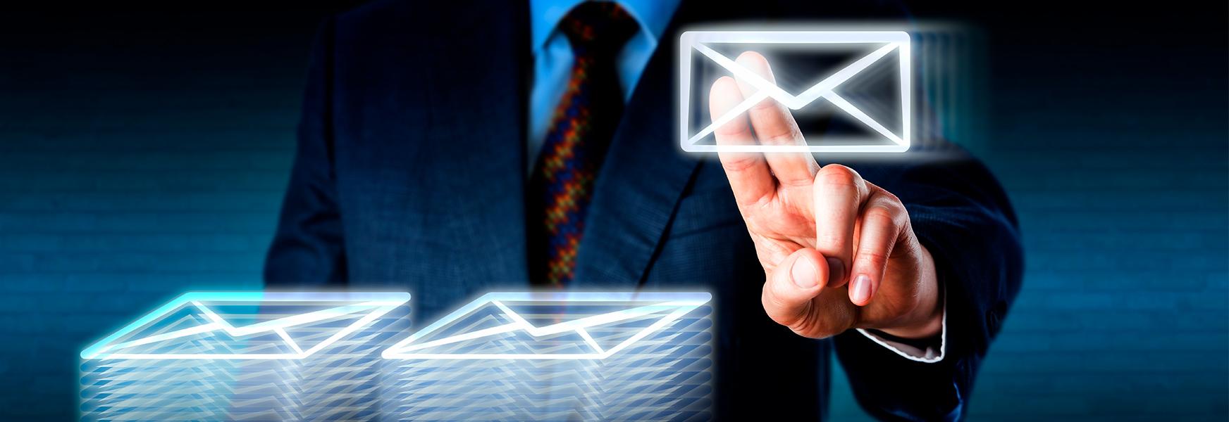 Man in suit pressing digital envelope