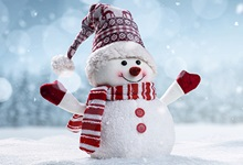 Happy snowman with hat, scarf, and gloves standing in a snowy field