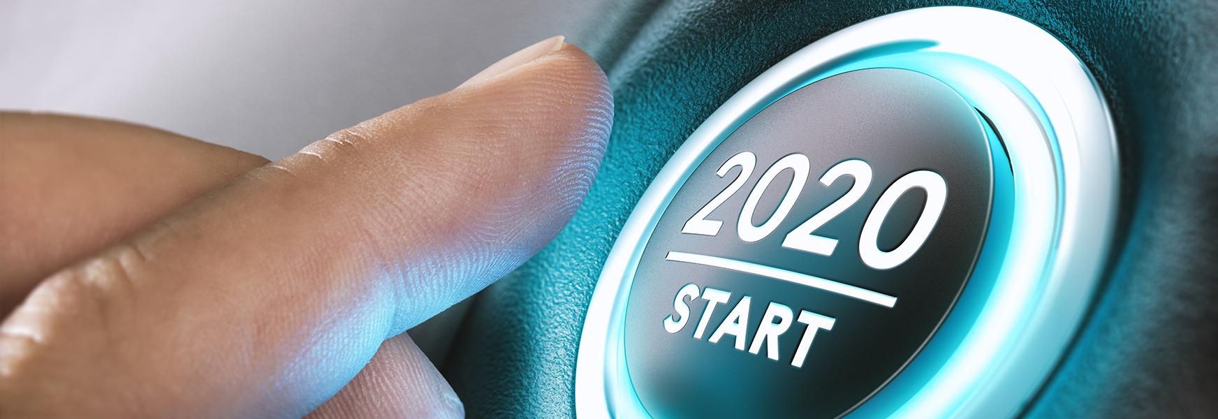 Index finger pushing 2020 start button