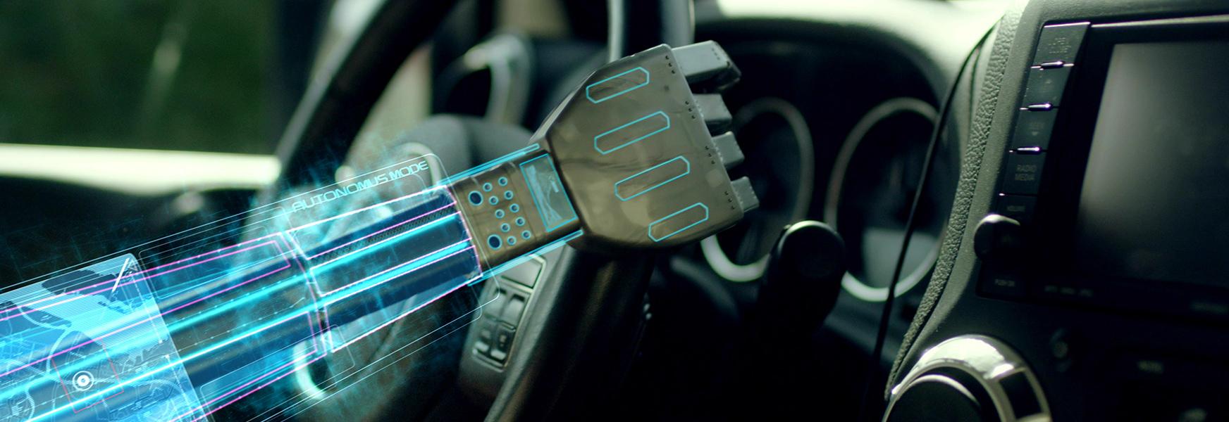 Robot holding car steering wheel