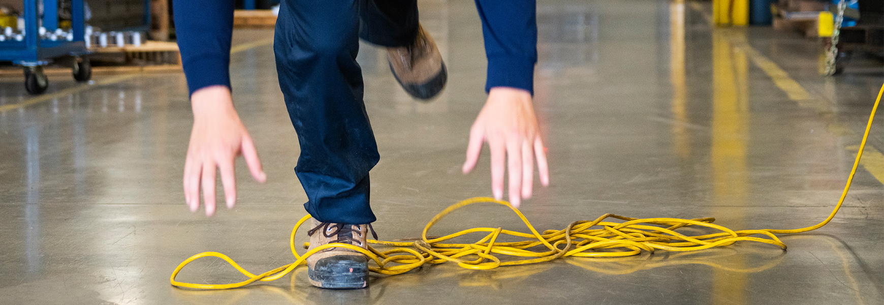 worker trips on electric cord