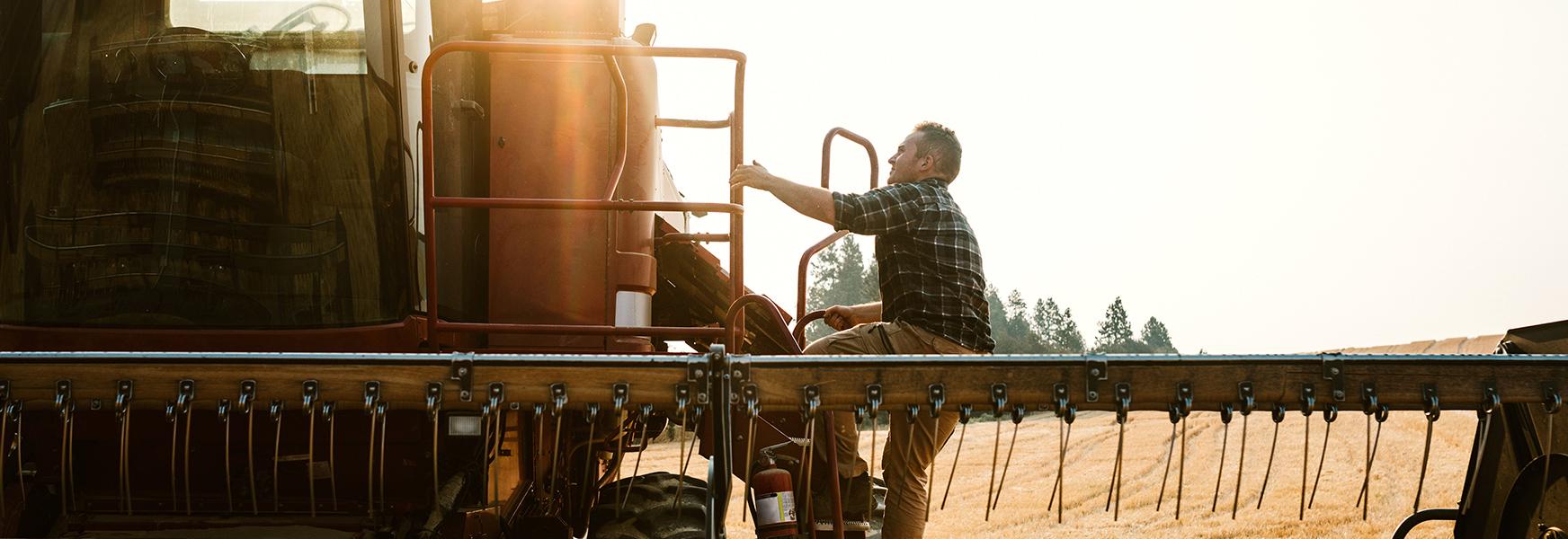 farmer on machine