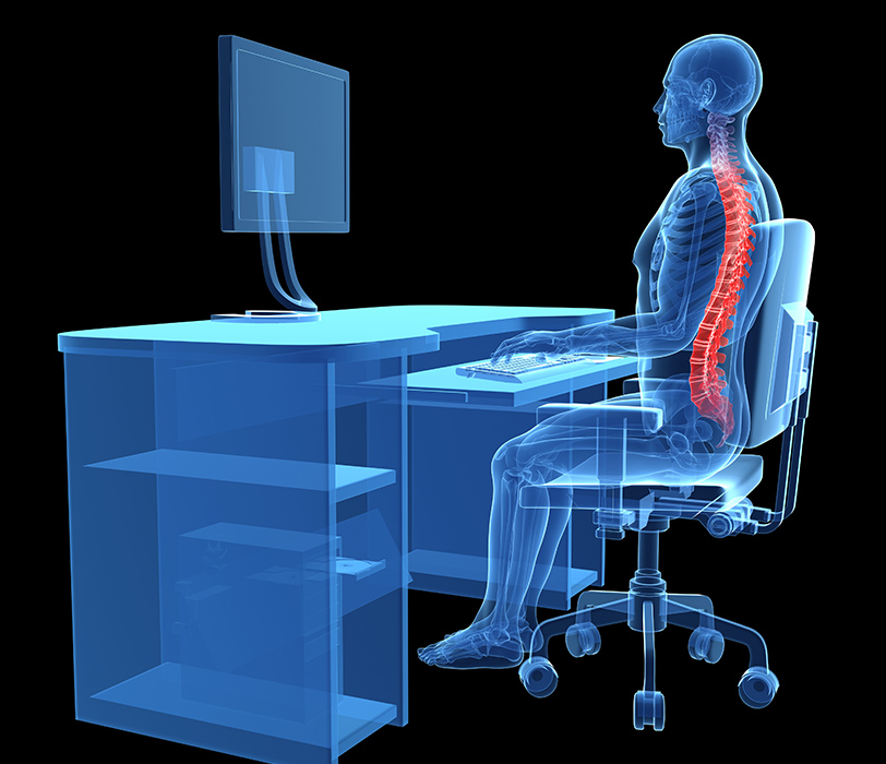3D render illustrating back pain caused by improper ergonomics