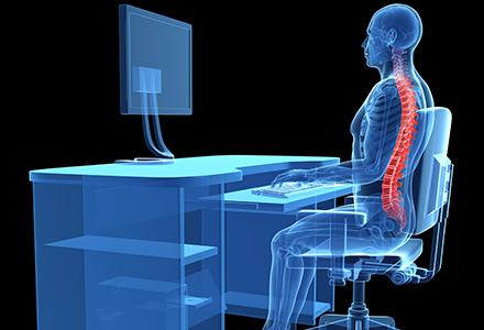 3D render illustrating back pain caused by improper ergonomics