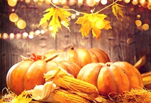 Pumpkins, corn, and leaves on display in front of a wooden background with decorative lights