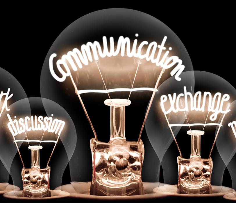 Communication-themed lightbulbs