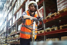 Distracted worker in warehouse