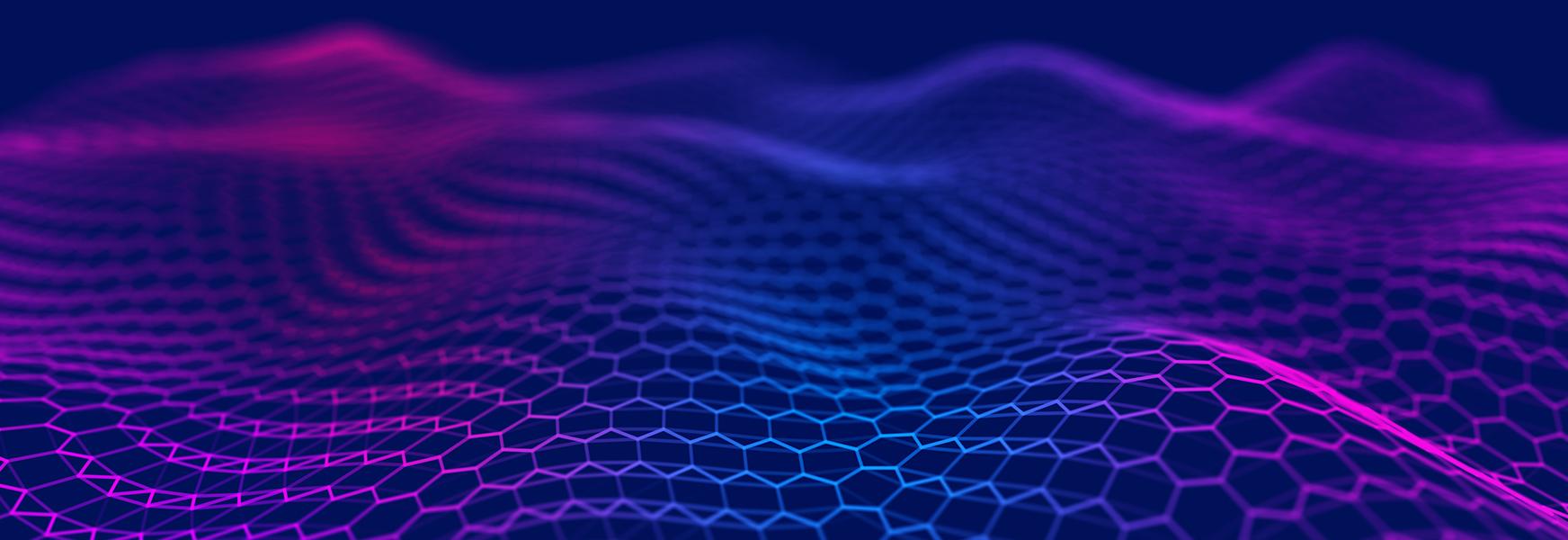 Purple abstract hexagonal wave