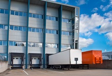 Shipping containers at loading dock
