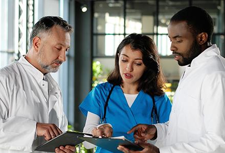 Medical professionals consulting