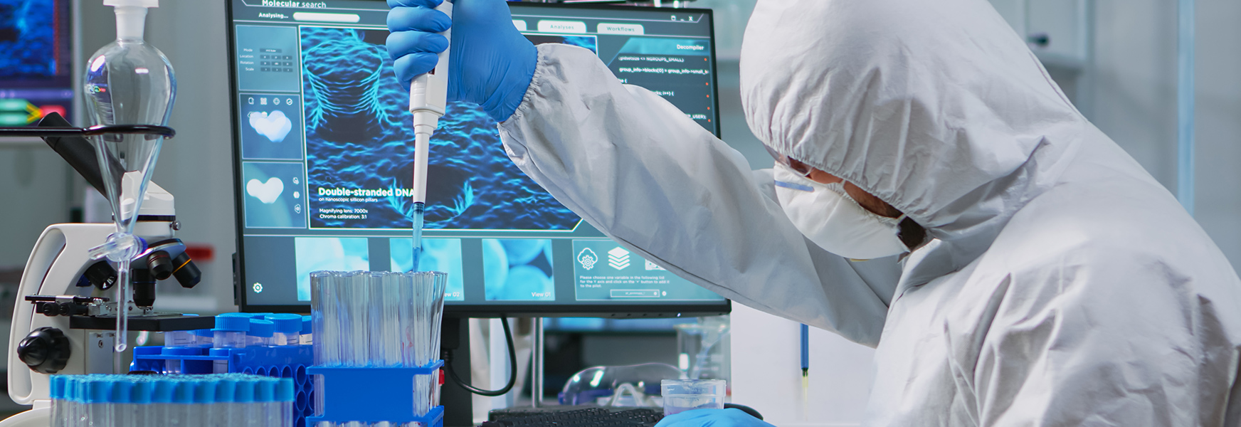 Scientist working in vaccine lab