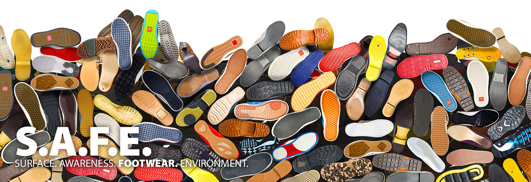 Pile of shoes showing treads