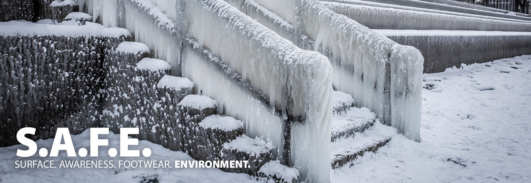 Staircase covered in ice