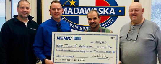 Town of Madawaska receives MEMIC dividend check