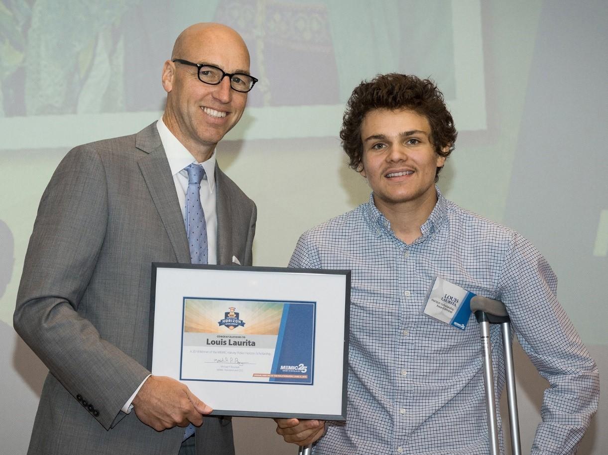 MEMIC President and CEO Michael Bourque with Horizon Scholarship Recipient Louis Laurita