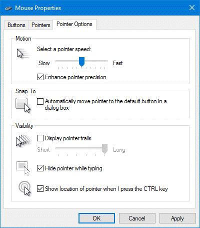 Computer screenshot of Mouse settings