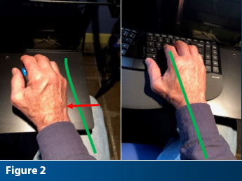 adult male hand placed ergonomically correct on a computer keyboard