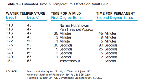 Estimated Time and Temperature effects on Adult Skin