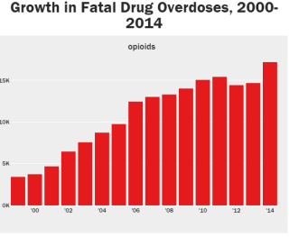 Graph showing number of opioid overdoses: 2000 - 2014.