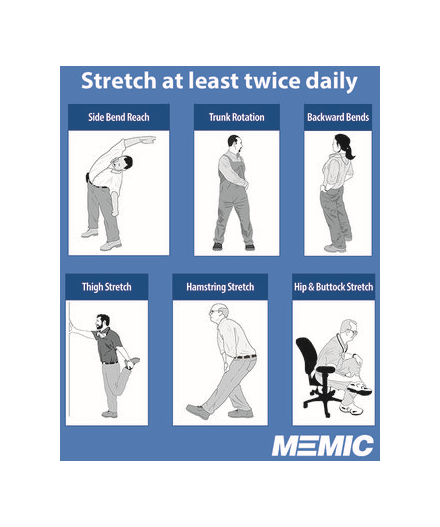 Diagram showing different stretches.