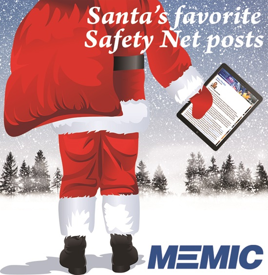 Santa Claus carrying his tablet with the Safety Net blogs.